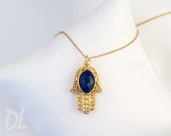 Personalized Christmas Gift for Girlfriend, Gold Hamsa Hand Necklace, Lapis Necklace, September Birthstone Necklace, Good Luck Hand Necklace