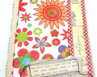 Handmade  Journal - fabric covered Scrap journal - Photo album - diary - notebook -Junk Journal- Travel Journal