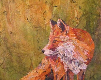 "THE WATCHER Original Torn Paper Collage Mixed Media Fox Painting 24X18"" on Gallery Wrapped Canvas"