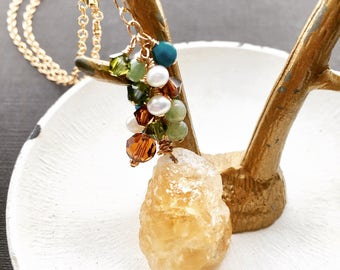 Gemstone Lariat Necklace, Citrine Necklace, Gold Crystal Lariat, Turquoise Lariat, Citrine Jewelry, Crystal Jewelry, Southwestern Jewelry