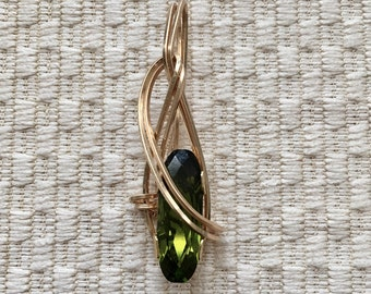 Olive Elongated Stone Wire-Wrapped In Gold Pendant