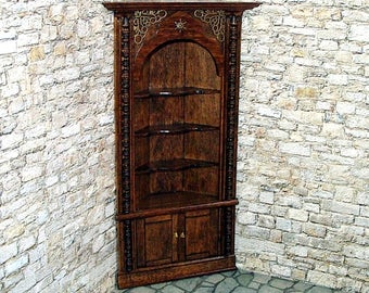 Corner Cupboard, Medieval Dollhouse Miniature 1/12 Scale, Hand Made