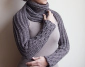 Crochet PATTERN(28) women long scarf, knit look long sleeves shrug sweater, loop circle wrap scarf, DIY, Instant download