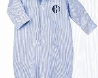 Baby Boy Oxford Monogrammed Gown - Shower Gift - Mud PIe