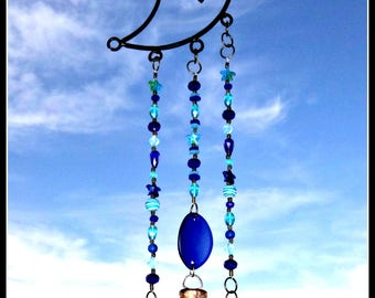 Beach glass moon chime, wrought iron, hanging moon, moon wind chime, glass moon wind chime, moon wind chime, beaded wind chime, brass bells