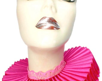 Ruffled Collar Hot Pink Satin Elizabethan Neck Ruff Victorian Steampunk Gothic Edwardian