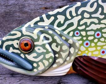 "Large Fish Wall Art, 47""Brook Trout Lodge Decor, Folk Art Fish, Mancave Art, Fly Fishing Gift for Him"