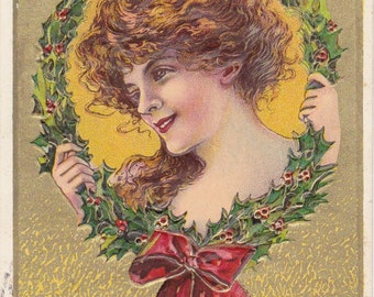 Happy New Year- 1900s Antique Postcard- Edwardian Beauty- Holly Wreath- Julius Bien- Holiday Decor- Paper Ephemera- Used