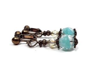 Yellow Mint Green Clip on Earrings Made with Vintage Beads and Crystals Antiqued Brass Screw Back Drop Dangle