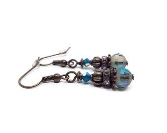 Turquoise Blue Green Earrings Drop Dangle Rhinestone Beaded AB Crystal Antiqued Brass Vintage Style
