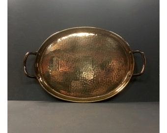 Antique Arts & Crafts Planished Copper Tray c.1910s