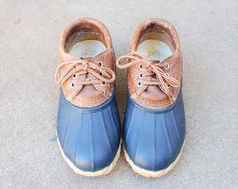 Vintage Womens 5 Eddie Bauer Rain Shoes Snow Boots Ducky Duck Duckie Boots Boot Lace Up Ankle Booties Leather Rubber Waterproof Browns Blue