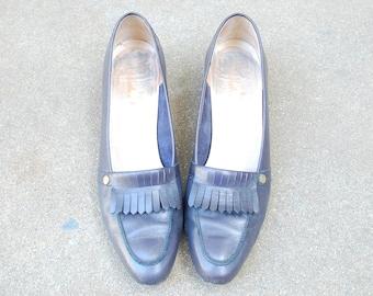 Vintage Womens Size 9a Salvatore Ferragamo Italian Navy Blue Leather Slip On Fringe Loafers Oxfords Dress Shoes Pumps Designer Hipster Mod