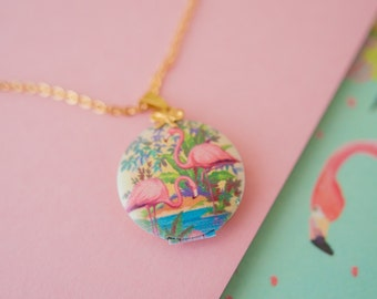 Flamingo Locket, Flamingo Necklace, Flamingo Pendant, Tropical Jewellery, Tropical Necklace, Pink Flamingo, Flamingo Charm,