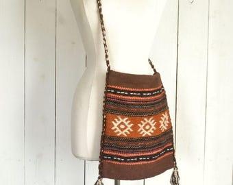 Woven Serape Tote 1960s Vintage Tribal Greek Hippie Large Shoulder Bag Brown Orange Blue