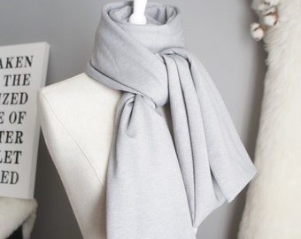 Long Thick Gray Scarf - Modern Gray Scarf - Long Modern Gray Scarf - Oversized Gray Scarf - Minimalist Urban Gray Scarf - Light Gray Scarf