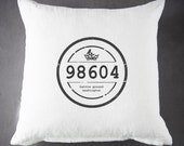 "Personalized Vintage Zip Code - 20""x20"" - Throw Pillow - Accent Pillow - Pillow Cover - Cottage Decor - Farmhouse - Distressed Label Pillow"