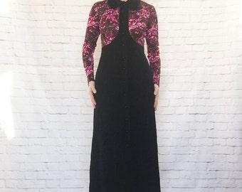 Vintage 60s Mod Contrast Floral Print Top Black Color Block Hostess Maxi Dress M L