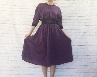 Vintage 80s Heather Purple Black Knit Midi Dress Wide Stretch Belt Button Details S M