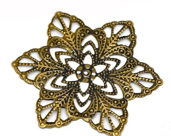 Filigree : 10 Antique Bronze Filigree Flower Wraps Connectors | Metal Stampings | Filigree Links -- Lead, Nickel & Cadmium Free 14283.J6H