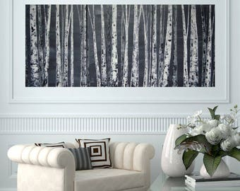 READY TO SHIP: 24x54 Original Black and White and Grey Neutral Aspen/Birch Tree Painting by MyImaginationIsYours