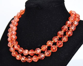 Vintage Necklace with Two Strands of Orange Speckled Beads Made in Hong Kong