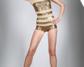 Sample Sale! Stripe Swimsuit, Holographic Gold, Nude Mesh, Dance Bodysuit, Burning Man, Music Video, Futuristic Clothing, by LENA QUIST