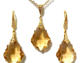 Topaz Gold Gatsby Wedding Jewelry Set, Brown Bridal Earrings, Art Deco Bridal Necklace, Swarovski Crystal Bridesmaid Jewelry Gift, DIVA