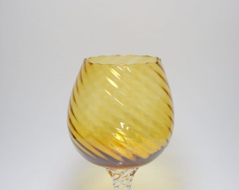 Mid Century Murano Italian Brandy Snifter Blown Glass Vase, Empoli Hand Blown Amber Glass Vase, Venetian Amber Glass Vase, Italian Art Glass