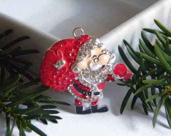 Santa Claus Rhinestone Pendant Christmas Red and Silver Perfect for Bubble Necklace Key Chain Zipper Pull Christmas Jewelry Holiday Ornament