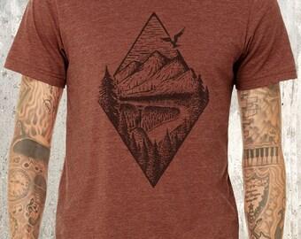 River Mountain & Forest Men's T-Shirt - Men's Screen Printed T-Shirt