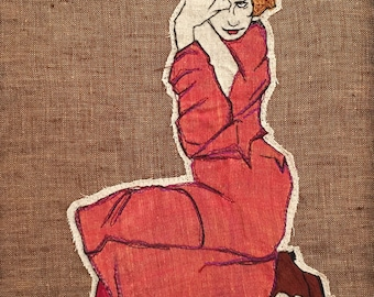 Recycled  textile Embroidery of Egon Schiele austrian artist,  framed with Walnut Wooden Frame.