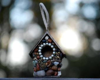 lock and key mosaic Stone Birdhouse for your Garden birdhouse outdoor decor Fairy garden