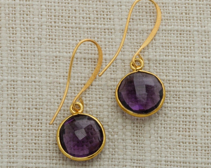 Amethyst Purple Bead Gold Earring French Hooks Handcrafted 6H