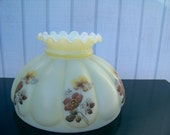 Vintage Floral Hurricane Milk Glass Lamp Shade Ruffled Top Davis Lynch American Lamp