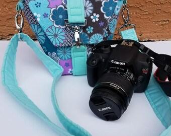 New Desgin-Camera bag-Canon camera-Small Camera-Digital SLR camera bag-Dslr camera case-purse-womens camera bag-SHADY CooL Blue FLORAL