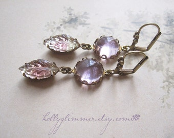 Lavender Vintage Rhinestone Earrings / Summer Leaf Assemblage Earrings / Boho Chic / Mori Girl