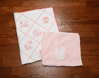 vintage 50s 60s baby blanket squirrel bunny rabbit horse cow embroidery red white pink set of 2 1950 1960 child sewing quilt