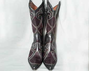 Silver Western Boots 7.5 90s Vintage Donald Pliner Western Couture Boots Pointy Toe Chunky Heel Italy Leather Boho Festival 80s Cowboy Boots