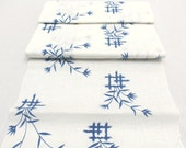 Japanese Artisan Cotton. Vintage Yukata Bolt. Blue White Hand Dyed Design (Ref: 1591)