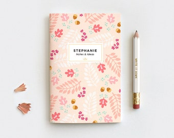 Autumn Personalized Gratitude Journal & Pencil Set, Midori Insert - Fall Leaves Peach Floral Notebook, 3 Sizes Blank Lined Dot Grid