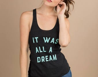 It Was All A Dream Core Tank, charcoal gray with mint screen printing, workout wear, tank top, summer graphic tee