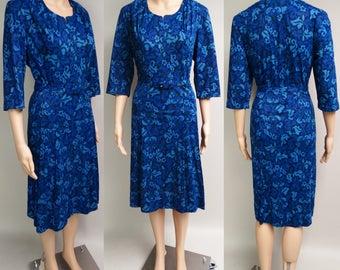Vintage 1950s Dress   Blue Dress   50s Dress   Rockabilly Dress   New Look Dress   Larger Dress   Larger Size Dress   Mod Dress