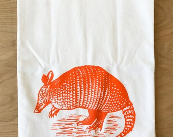 Armadillo Tea Towel Orange