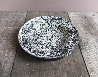 Vintage Black & White Speckled Enamel Bowls / Enamel Camping Bowls / Enamelware Bowls / Camp Cookware