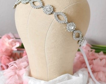 Bridal Headpieces, Wedding Head Piece, Rhinestone Ribbon Tie, Silver Flower Headband, Bridal Hair Piece, Bridal Headpiece, Rhinestone