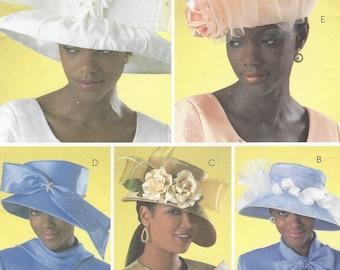 Womens Hat Patterns Ladies Church Hats Kentucky Derby Hats OOP Butterick Sewing Pattern B4146 Size S M L UnCut Millinary Patterns