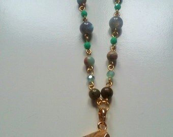 Long fluorite necklace, fluorite pendant, raw fluorite, natural fluorite, gemstone necklace