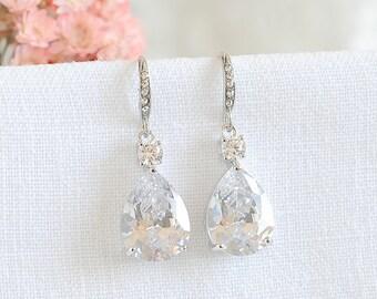 Crystal Bridal Earrings, Wedding Earrings, Wedding Jewelry, Teardrop Dangle Earrings, Bridesmaids Earrings, Rose Gold Earrings, ISABELLA