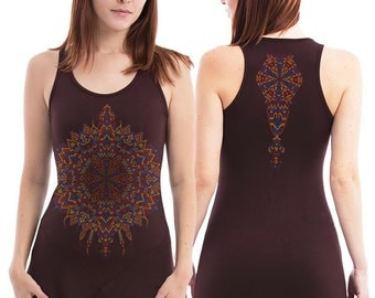 Mandala Tunic Top, Yoga Top, Summer Tunic Dress, Festival Dress, Psy Trance Goa, Burning Man Women, SOL